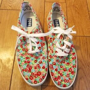 Keds Floral Red, Pink Blue Roses size 5 1/2 Womens